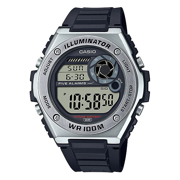 Casio Digital Black Resin Band Watch MWD100H-1A MWD-100H-1A