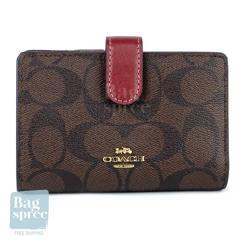 Coach Medium Corner Zip Wallet Brown, Red F23553 IME8U