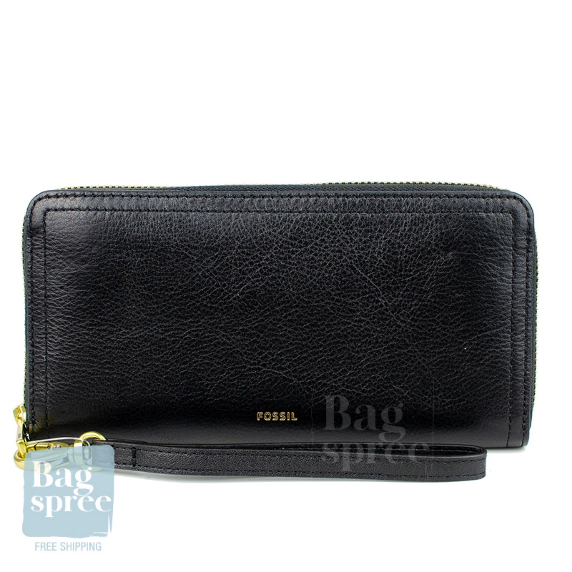 Fossil Logan RFID Zip Around Clutch Leather Wallet Black SL7831001