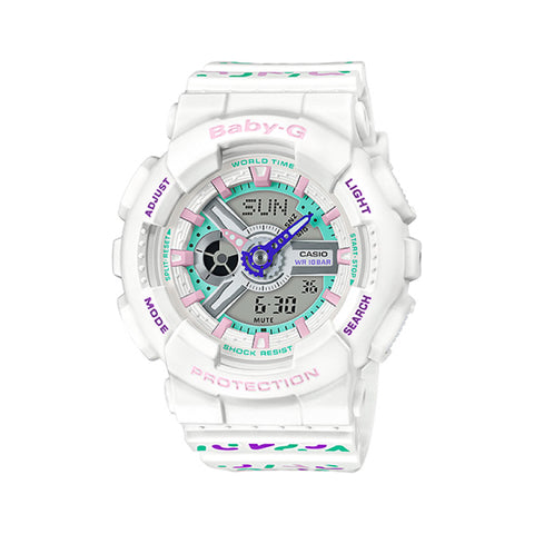 Casio Baby-G BA-110 Lineup Colourful Geometric Patterns White Resin Band Watch BA110TH-7A BA-110TH-7A