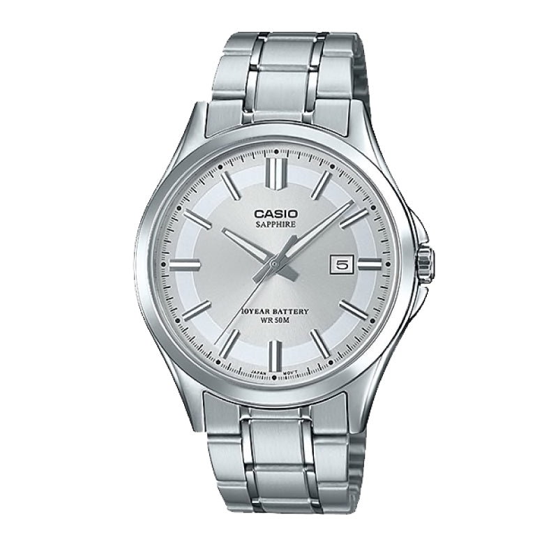 Casio Men's Standard Analog Silver Stainless Steel Band Watch MTS100D-7A MTS-100D-7A