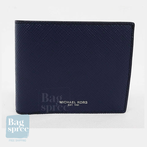 Michael Kors Harrison Billfold with Passcase Wallet Blue 36U9LHRF6L NAVY