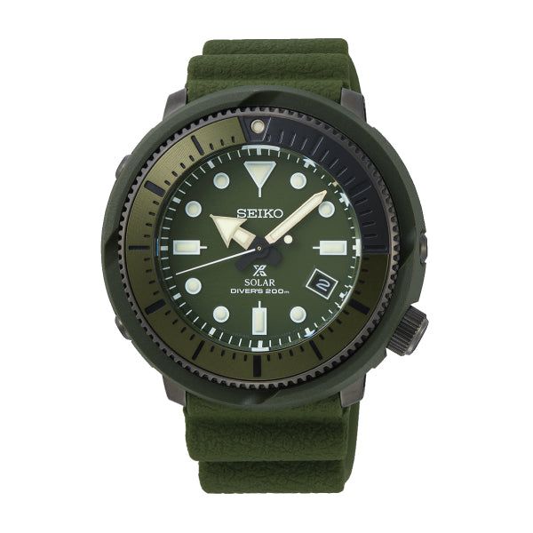 Seiko Prospex Solar Air Diver's Street Series Olive Green Silicone Strap Watch SNE535P1