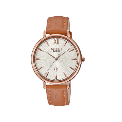 Casio Sheen Sapphire Crystal Lineup Slim Case Brown Leather Band Watch SHE4534PGL-7A SHE-4534PGL-7A