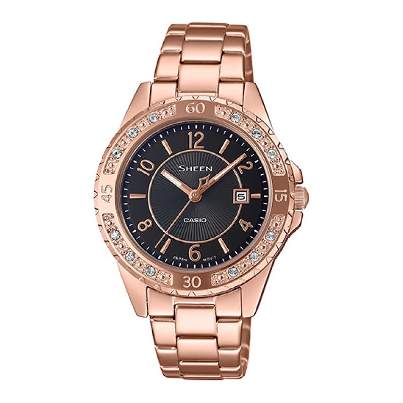Casio Sheen Sapphire Crystal Lineup with Swarovski¨ Crystals Rose Gold Stainless Steel Band Watch SHE4532PG-1A SHE-4532PG-1A
