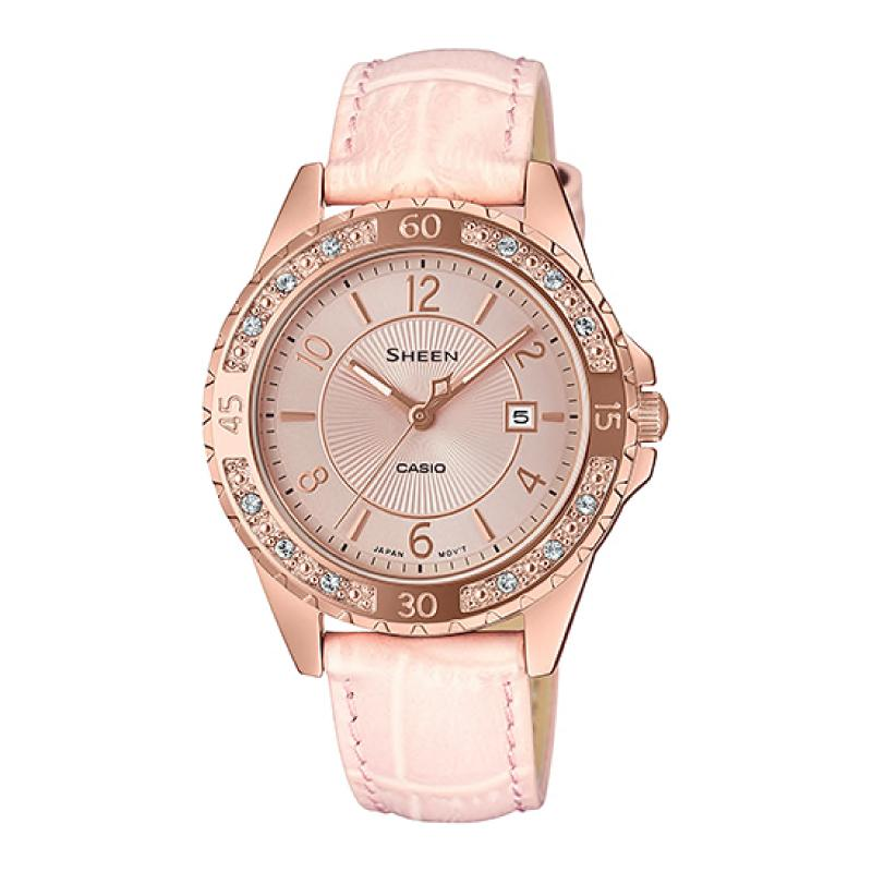 Casio Sheen Sapphire Crystal Lineup with Swarovski¨ Crystals Pink Genuine Leather Band Watch SHE4532PGL-4A SHE-4532PGL-4A