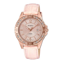 Load image into Gallery viewer, Casio Sheen Sapphire Crystal Lineup with Swarovski¨ Crystals Pink Genuine Leather Band Watch SHE4532PGL-4A SHE-4532PGL-4A