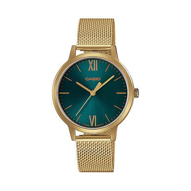 Casio Ladies' Analog Gold Ion Plated Stainless Steel Mesh Band Watch LTP-E157MG-3A LTPE157MG-3A