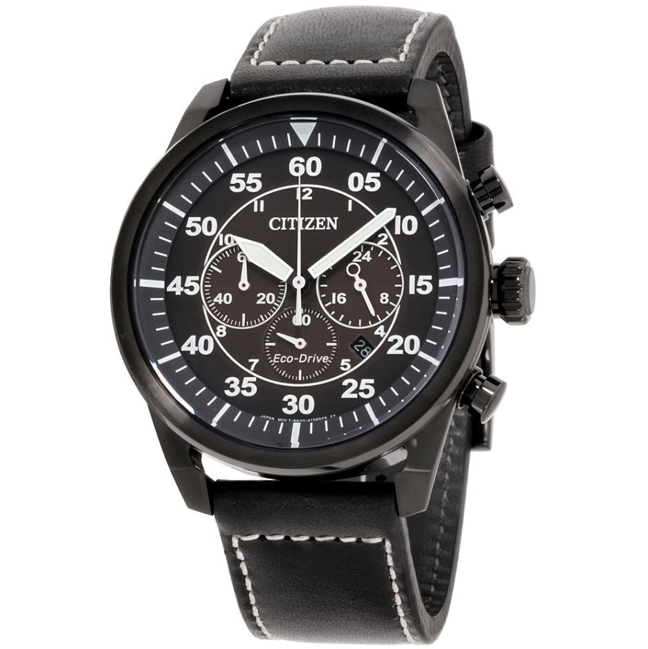Citizen Men's Eco-Drive Black Leather Strap Watch CA4215-21H