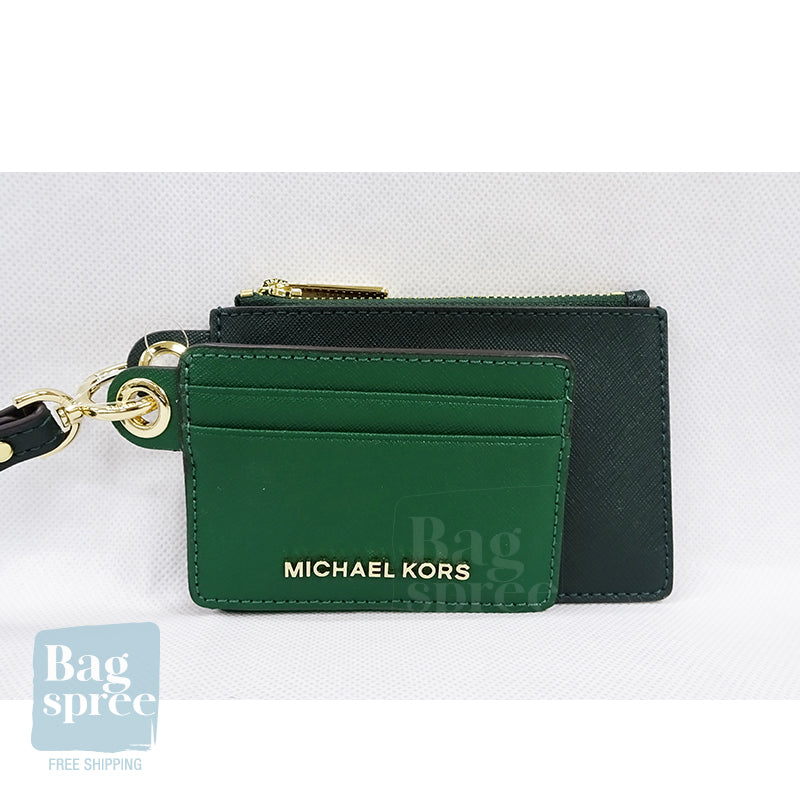 Michael Kors Giftables Small Card Case Duo Green 35H9GGFD0T JEWL GRN MLT