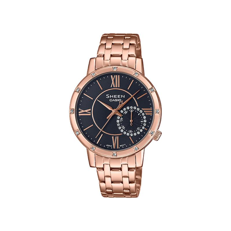 Casio Sheen Multi-Hand Series with Swarovski® Crystals Rose Gold Stainless Steel Band Watch SHE3046PG-8A SHE-3046PG-8A | Watchspree