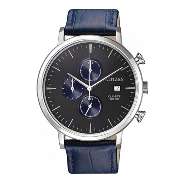 Citizen Quartz Chronograph Blue Leather Strap Watch AN3610-04H