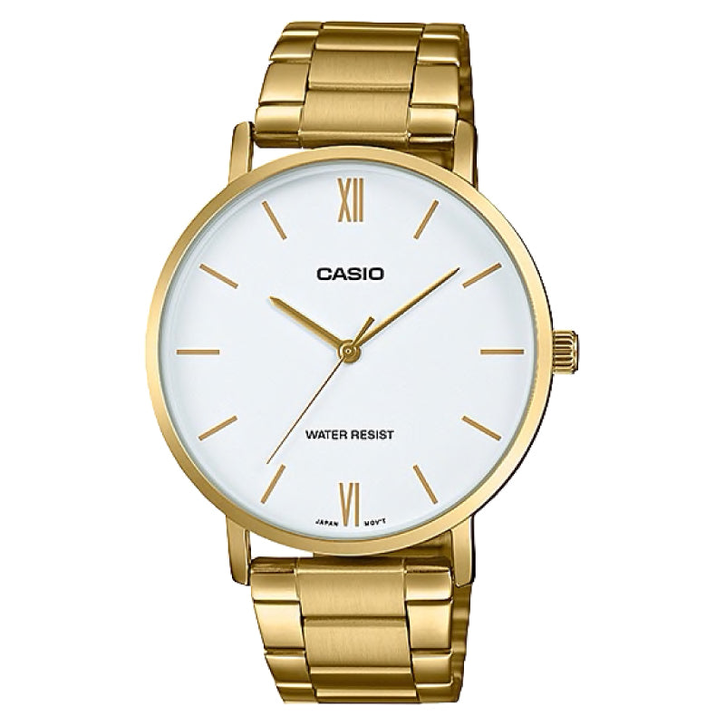 Casio Men's Analog Gold Stainless Steel Band Watch MTPVT01G-7B MTP-VT01G-7B