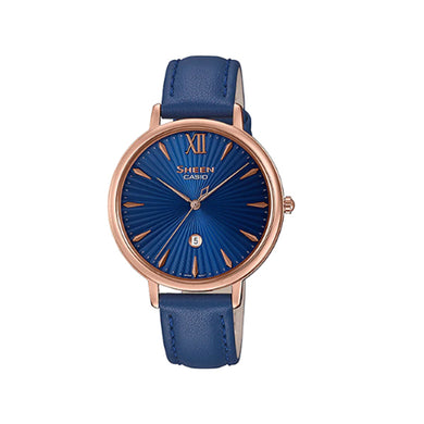 Casio Sheen Sapphire Crystal Lineup Slim Case Blue Leather Band Watch SHE4534PGL-2A SHE-4534PGL-2A