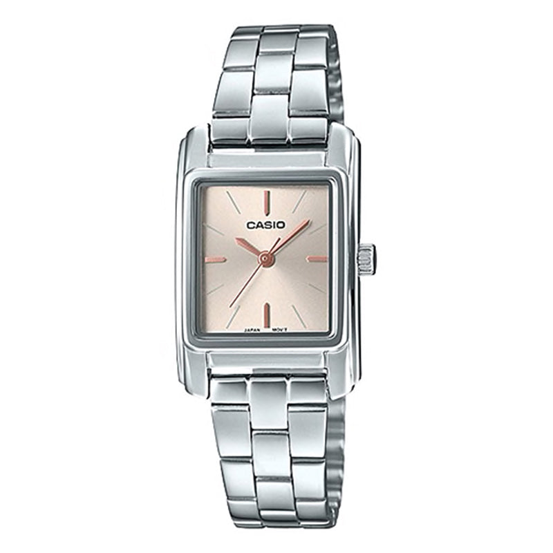 Casio Ladies' Analog Silver Stainless Steel Band Watch LTPE165D-9A LTP-E165D-9A