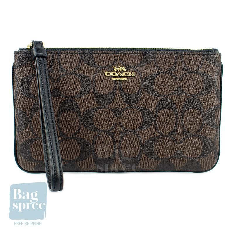 Coach Large Wristlet In Signature Canvas Brown F58695 IMAA8
