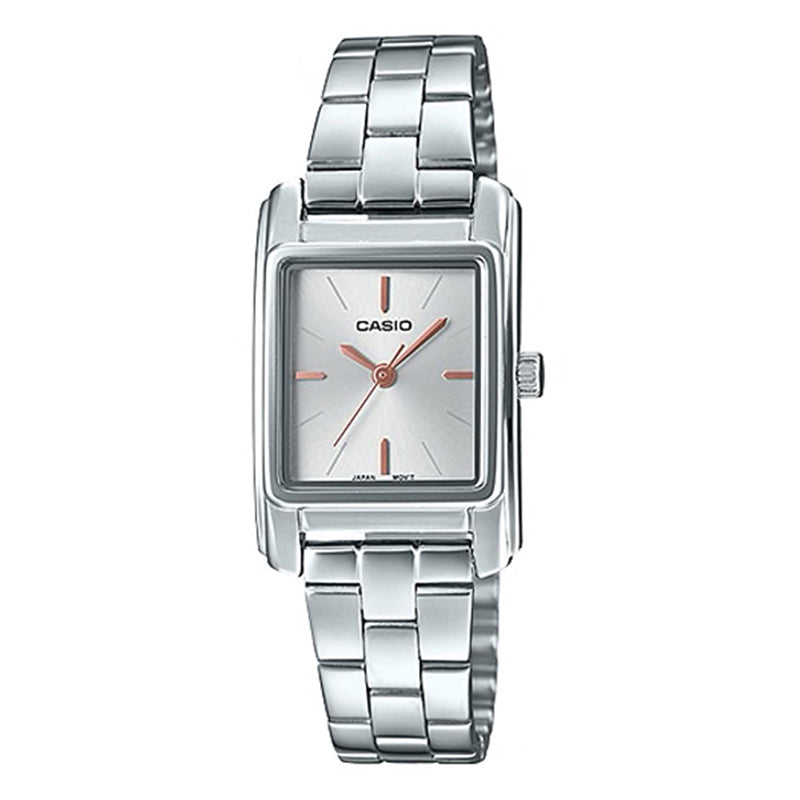 Casio Ladies' Analog Silver Stainless Steel Band Watch LTPE165D-7A LTP-E165D-7A