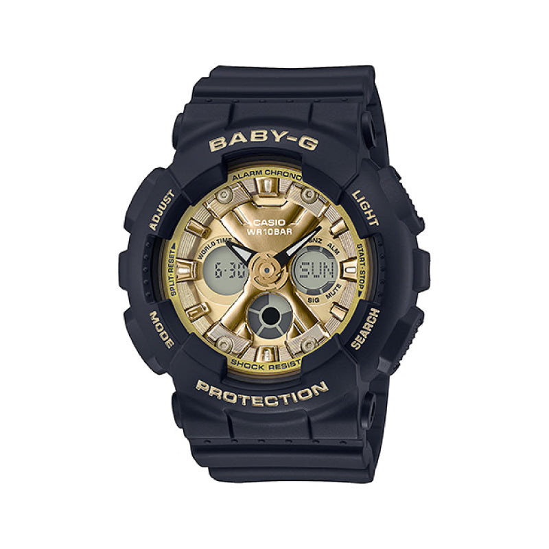 Casio Baby-G Standard Analog-Digital BA-130 Brilliantly Series Black Resin Band Watch BA130-1A3 BA-130-1A3