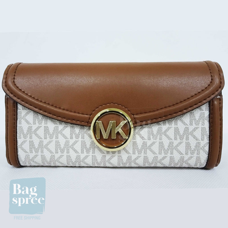 Michael Kors Fulton Large Flap Continental Wallet White 35F9GFTE3B VANILLA