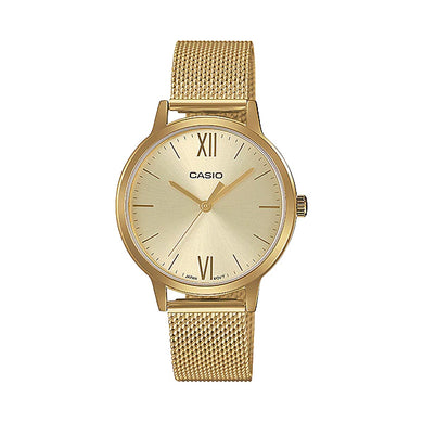 Casio Ladies' Analog Gold Ion Plated Stainless Steel Mesh Band Watch LTPE157MG-9A LTP-E157MG-9A