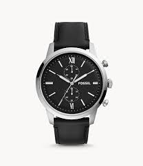 Fossil Men's Townsman Chronograph Black Leather Watch FS5548