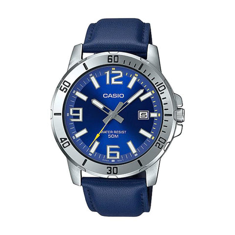 Casio Men's Diver Look Blue Leather Strap Watch MTPVD01L-2B MTP-VD01L-2B