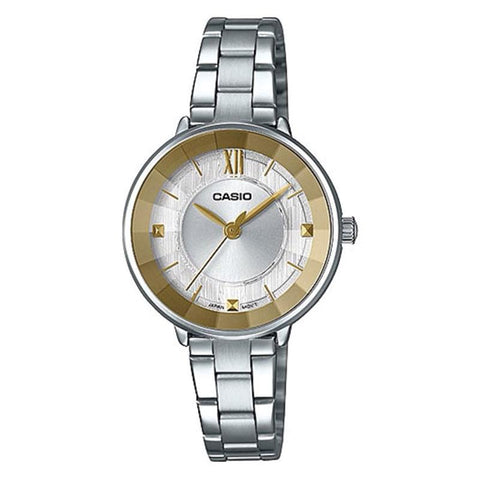 Casio Ladies' Analog Silver Stainless Steel Band Watch LTPE163D-7A1 LTP-E163D-7A1 | Watchspree
