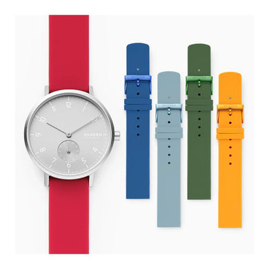 Skagen Ladies' Aaren Kulor Three-Hand Multi Colored Silicone 36mm Watch Strap Set SKW1124