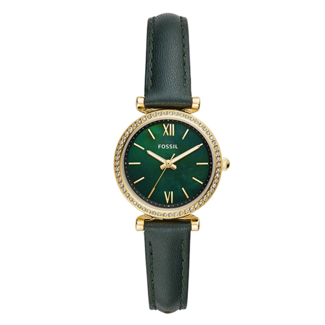 Fossil Ladies' Carlie Mini Three-Hand Dark Green Leather Watch ES4651