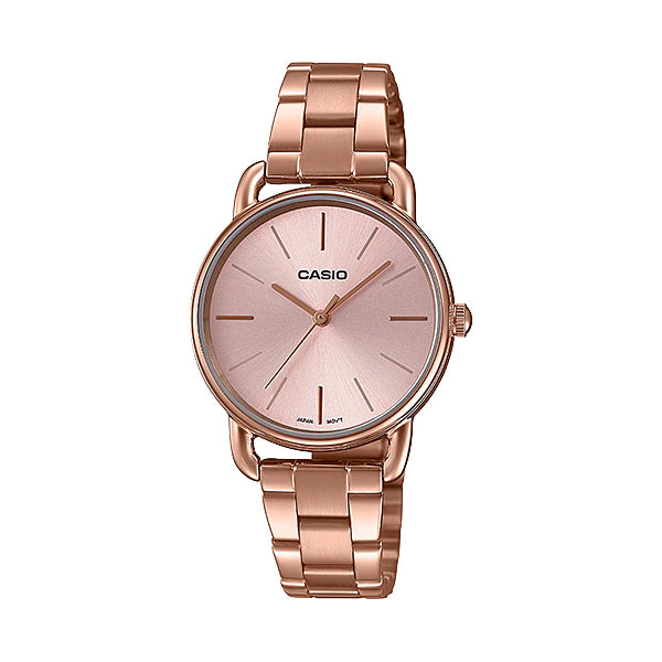Casio Ladies' Analog Pink Gold Ion Plated Stainless Steel Band Watch LTPE412PG-4A LTP-E412PG-4A