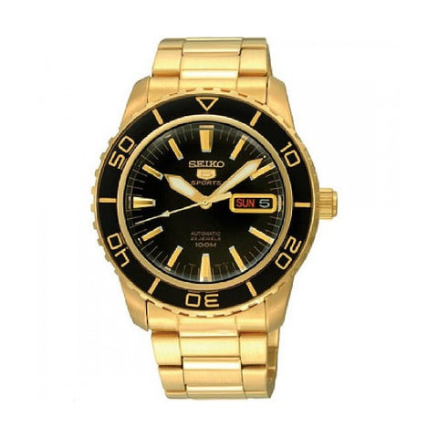 Seiko 5 Sports Automatic Gold-tone Stainless Steel Band Watch SNZH60K1