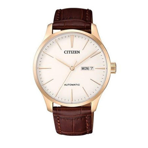 Citizen Mechanical Automatic Brown Leather Strap Watch NH8353-18A