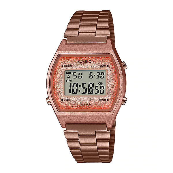 Casio Digital Rose Gold Ion Plated Stainless Steel Band Watch B640WCG-5D B640WCG-5