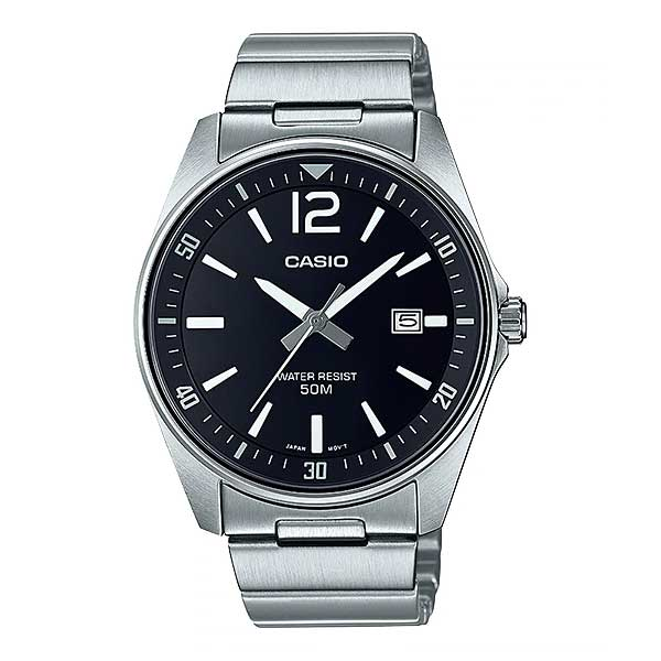 Casio Men's Analog Stainless Steel Band Watch MTPE170D-1B MTP-E170D-1B
