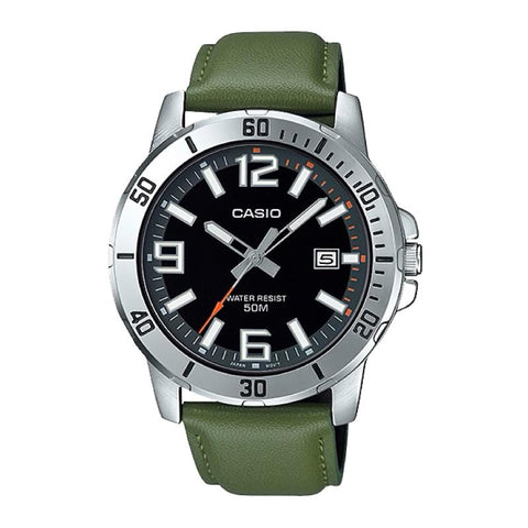 Casio Men's Diver Look Green Leather Strap Watch MTPVD01L-3B MTP-VD01L-3B