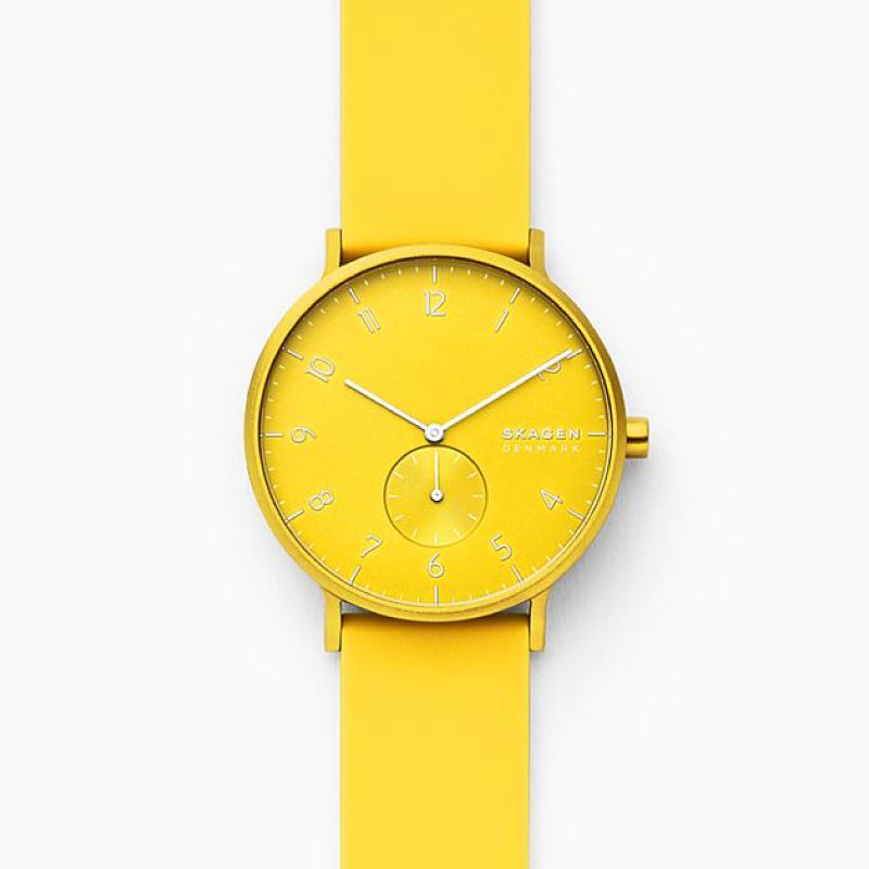 Skagen Aaren Kulor Neon Yellow Silicone 41mm Watch SKW6557