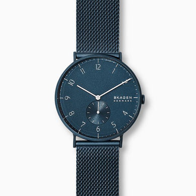 Skagen Men's Aaren Matte Blue Steel Mesh 40mm Watch SKW6533