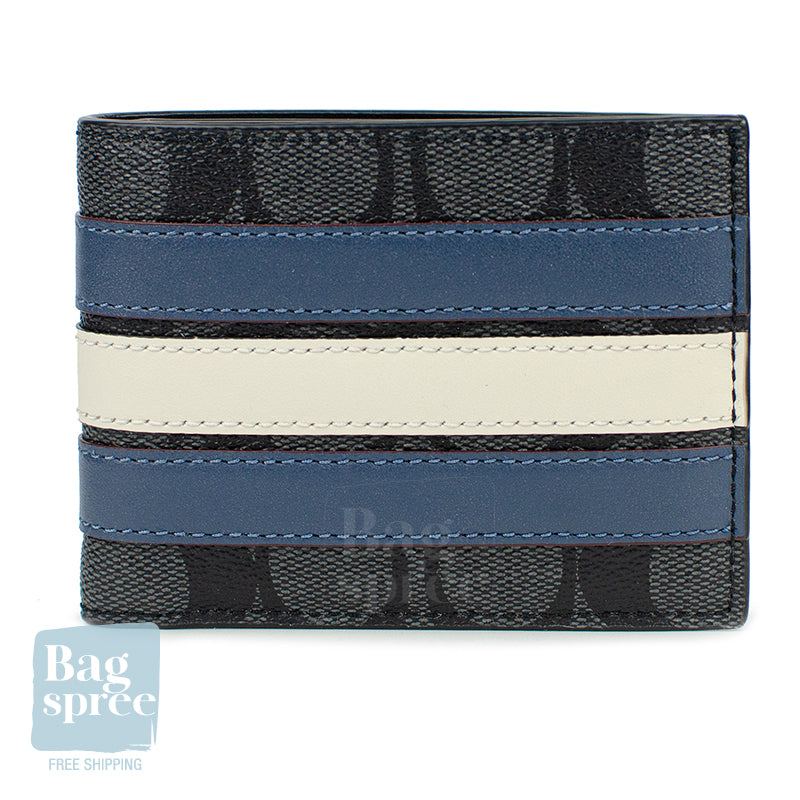 Coach Slim Billfold Wallet With Varsity Stripe Blue F26173 N3C
