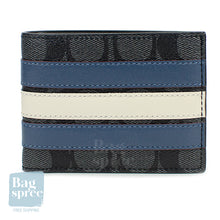 Load image into Gallery viewer, Coach Slim Billfold Wallet With Varsity Stripe Blue F26173 N3C