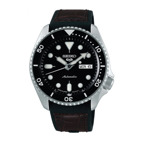 [JDM] Seiko 5 Sports (Japan Made) Automatic Black & Brown Silicone Leather Strap Watch SBSA027