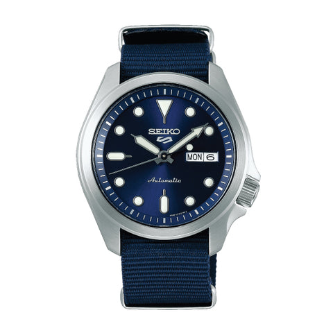 Seiko 5 Sports Automatic Navy Blue Nylon Strap Watch SRPE63K1