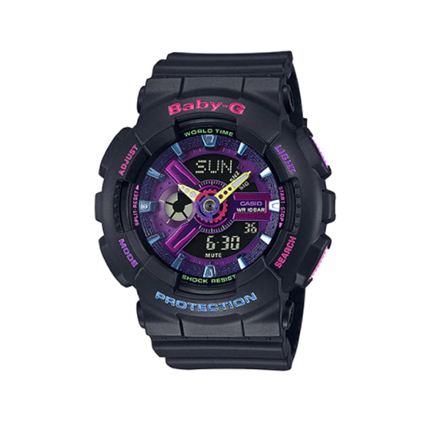 Casio Baby-G BA110 Series Special Colour Models Decora Style Black Resin Band Watch BA110TM-1A BA-110TM-1A