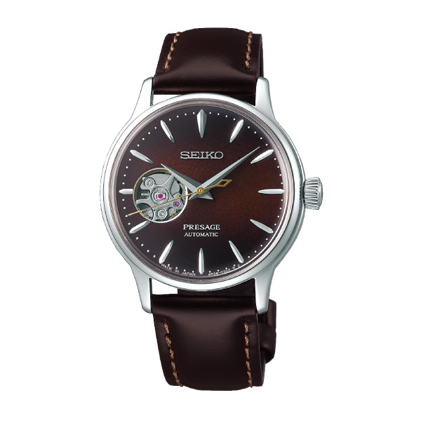 Seiko Presage (Japan Made) Open Heart Automatic Brown Calfskin Leather Strap Watch SSA783J1 | Watchspree
