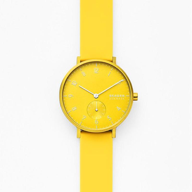 Skagen Aaren Kulor Neon Yellow Silicone 36mm Watch SKW2820