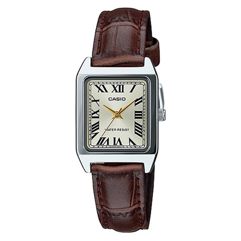 Casio Ladies' Standard Analog Brown Leather Strap Watch LTPV007L-9B LTP-V007L-9B