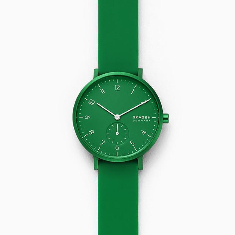 Skagen Aaren Kulor Green Silicone 36mm Watch SKW2804
