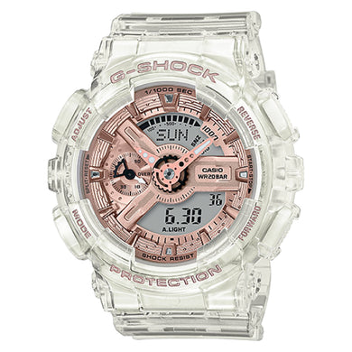 Casio G-Shock S Series GA-110 Lineup Transparent x Rose Gold Resin Band Watch GMAS110SR-7A GMA-S110SR-7A