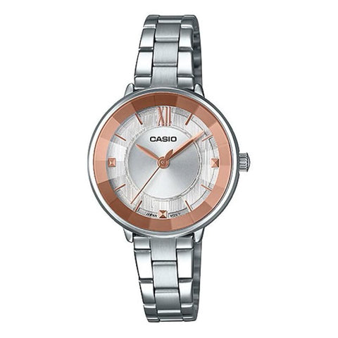 Casio Ladies' Analog Silver Stainless Steel Band Watch LTPE163D-7A2 LTP-E163D-7A2 | Watchspree
