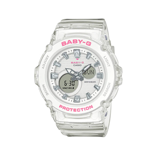 Casio Baby-G BGA270 Series in Summer Colours White Semi Transparent Band Watch BGA270S-7A BGA-270S-7A