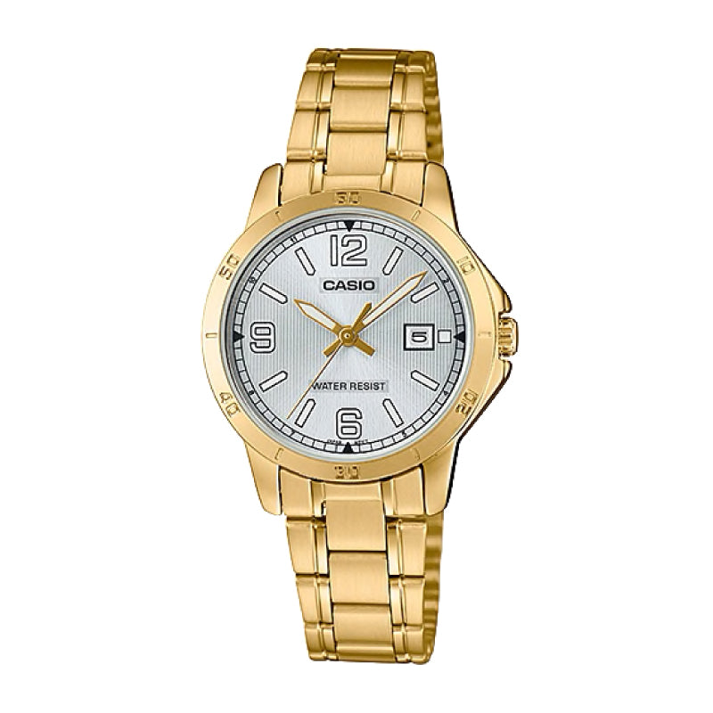 Casio Ladies' Standard Analog Gold Ion Plated Stainless Steel Band Watch LTPV004G-7B2 LTP-V004G-7B2
